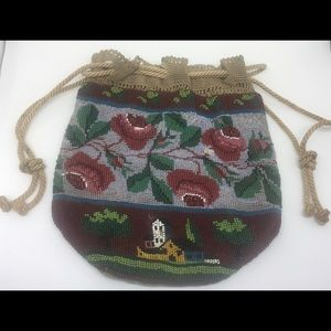 1850s Victorian Beaded Reticule Purse Roses